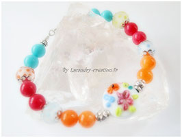 Bracelet  TUTTI FRUTTI Turquoise, rose, orange
