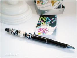 Stylo bille noir, stylo bijou rechargeble, cadeau de fête, Noel, cadeau retraite, stylo,  perlé noir et blanc