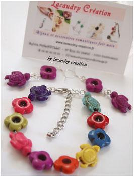 Bracelet FLEURS de TORTUES multicolores en pierre naturelle