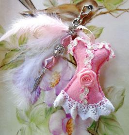 Porte-clefs robe shabby chic pour mariée romantique et féminin, Bijou de sac collection Corset, Accessoire de mode ,  fait main