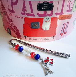 Marque Pages I LOVE PARIS, La parisienne , Tour eiffel, bleu blanc rouge