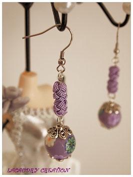 Boucles d'oreilles romantiques Perles fimo mauves