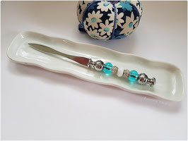Coupe papier métal et perles bleu turquoise, cadeau femme, fête des mères, fête des grands, mères, romantique