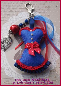 Bijou de sac, corset, bustier, feutrine bleu et dentelle rouge, fait main, MARIANNE journée de la femme