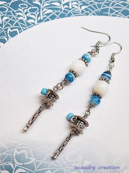 Boucles d'oreilles femme, esprit d'asie Moulin à prières, perles de nacre et perles indiennes