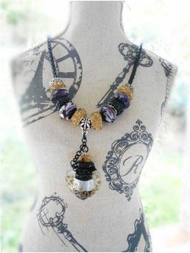 Collier fiole aromathérapie, collier diffuseur huiles essentielles, collier à parfum , collier noir et or