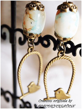 Boucles d'oreilles STYLE vintage ADORABLES PIOUS PIOUS, romantiques en métal bronze doré