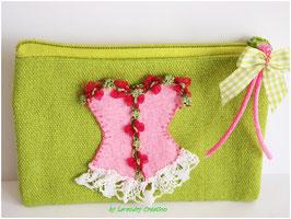 Porte monnaie CORSET LADY en coton vert et corset brode en feutrine rose et dentelle