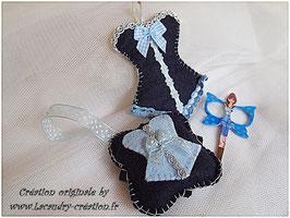 Ensemble 3 pièces  pique épingle et Etui a ciseau couture  CORSET en feutrine bleu  cousu main et ciseau acier modèle BELLA BLUE