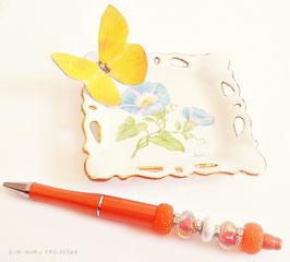 Stylo bille rechargeagle PEPS ORANGE, stylo corps orange, perles  orangesfleuries et blanches
