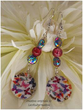 Boucles d'oreilles Nacre Papillon du printemps , perle de verre et petit palet turquoise