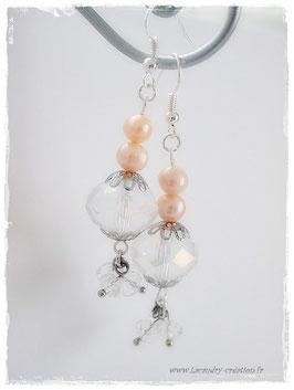 Boucles d'oreilles perles Cristal et perles d'eau douce