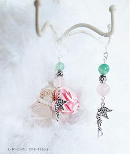Boucles d'oreilles femme, accroches en argent pour oreilles percées , quartz rose, amazonite verte, pendentifs fées