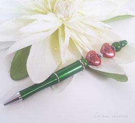 Stylo bille rechargeable vert et rose, Stylo bijou Coeur vert, perles coeurs roses