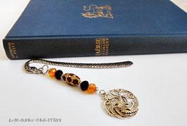 Marque pages homme Dragon de feu, cadeau pour lui, perles strass marron, noir et or  et pendentif dragon