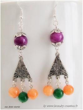 Boucles d'oreilles baroques pierres fines color block CARNAVAL