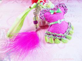Bijou de sac, corset, bustier, feutrine rose et galon pompon vert , fait main, esprit Bollywood