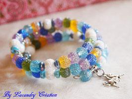 Bracelet féerique , La licorne, pour femme ou ado, fil mémoire 3 rangs, couleur pastel, romantique