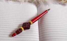 Stylo bille, stylo bijou rouge, perles de verre rouge