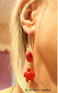 Boucles d'oreilles TORTUE, pop en pierre rouge