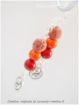 Boucles d'oreilles YING YANG, perles miracle et pierre de lave