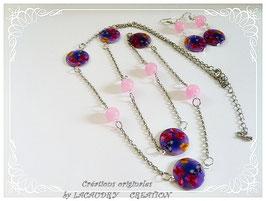Sautoir bleu mauve perle de nacre PAPILLONS