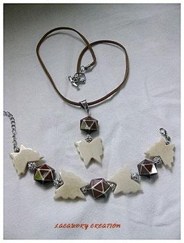 Parure PAPILLON collier et bracelet en corne naturelle