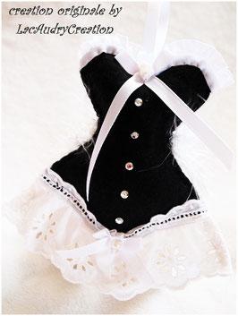 Corset de la mariée en Noir et Blanc