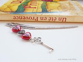 Marque pages Plume et coeur Rouge La clé du Coeur