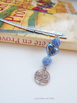 Marque pages Plume et coeur bleu, baroque L'arbre de vie