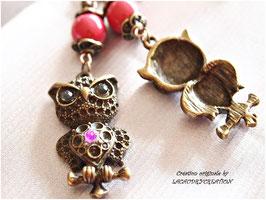 Boucles d'oreille Mes jolies Chouettes rose fuchsia , style vintage,pour oreilles percées, apprets  bronze doré , et strass
