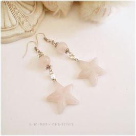 Boucles d'oreilles romantiques Etoiles roses, en quartz rose, pour femme, pierres fines