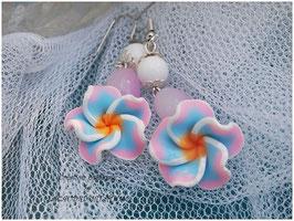 Boucles d'oreilles romantiques fleurs de tiaré DOUCEUR de vPASTEL