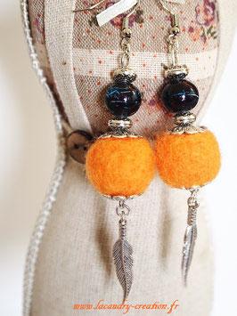 Boucles d'oreilles laine feutrée Potiron