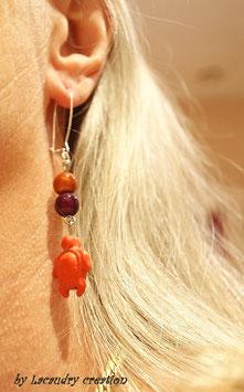 Boucles d'oreilles pop Tortue Orange