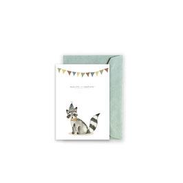 Grußkarte/ klappkarte Waschbär Geburtstag - Alles Gute zum Geburtstag -