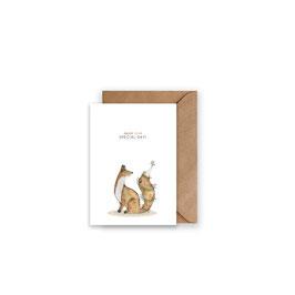 Grußkarte/ klappkarte Fuchs - Enjoy your Special Day -