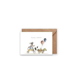 Grußkarte/ klappkarte Waschbären - Alles Gute zum Geburtstag -
