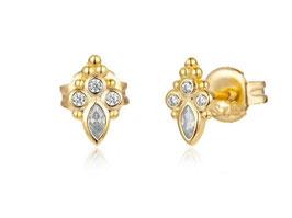 925 Sterlingsilber Ohrstecker Oriental Shine Gold