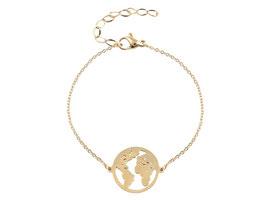 Armband Edelstahl Weltkarte Gold