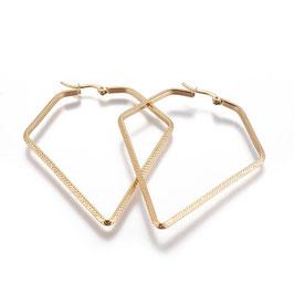 Edelstahl Kreolen Diamond Gold