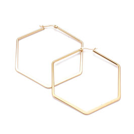 Edelstahl Kreolen Hexagon Gold 80mm