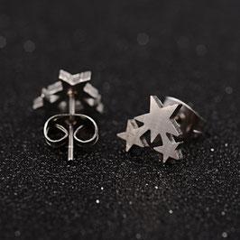Edelstahl Ohrstecker Drei Sterne
