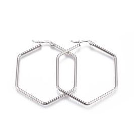 Edelstahl Kreolen Hexagon Silber
