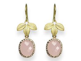 Blätter Ohrringe Vergoldet Glasstein Rosa