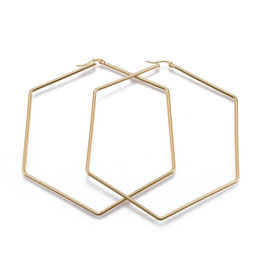 Edelstahl Kreolen Hexagon Gold 95mm