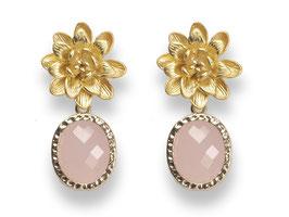 Lotusblüten Ohrstecker Vergoldet Glasstein Rosa