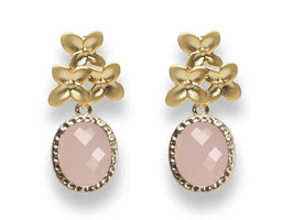 Kirschblüten Ohrstecker Vergoldet Glasstein Rosa