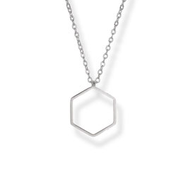 Luxury Hexagon Kette  Rhodiniert