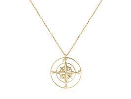 Edelstahl Kette Kompass Groß Gold